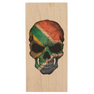 Customizable South African Flag Skull Wood USB 2.0 Flash Drive