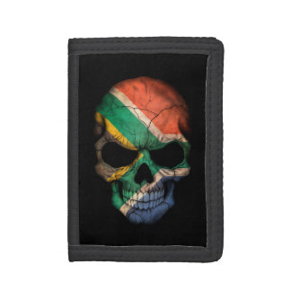 Customizable South African Flag Skull Trifold Wallets