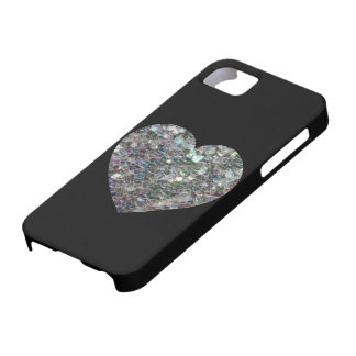 Customizable Sparkly colourful silver mosaic Heart Barely There iPhone 5 Case