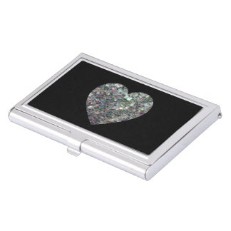 Customizable Sparkly colourful silver mosaic Heart Business Card Holders