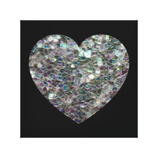 Customizable Sparkly colourful silver mosaic Heart Gallery Wrap Canvas