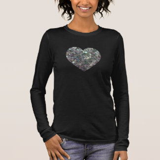 Customizable Sparkly colourful silver mosaic Heart Long Sleeve T-Shirt
