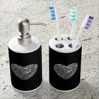 Customizable Sparkly colourful silver mosaic Heart Soap Dispenser And Toothbrush Holder