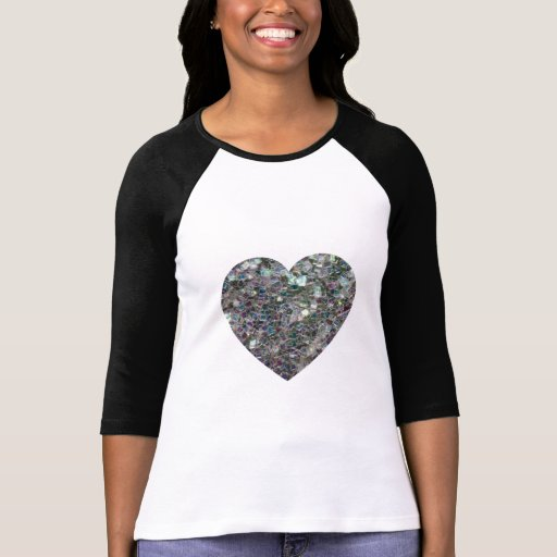 Customizable Sparkly colourful silver mosaic Heart Tee Shirts