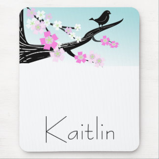 Customizable sparrow bird cherry blossoms graphic mouse mat