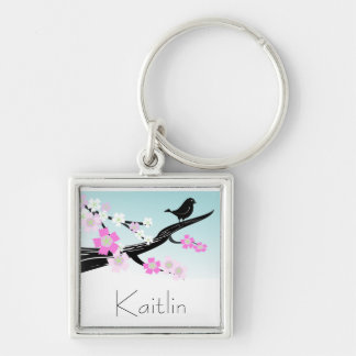 Customizable sparrow bird cherry blossoms graphic Silver-Colored square key ring