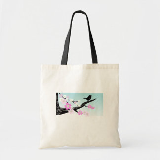 Customizable sparrow bird cherry blossoms graphic tote bag