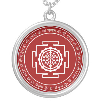 Customizable Spiritual Sri Yantra Silver Plated Necklace