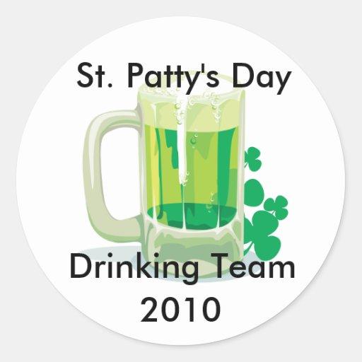 Customizable St. Patricks Drinking Team Stickers