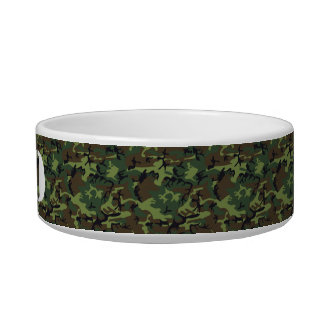 Customizable Stencil Name on Camouflage Pattern Cat Water Bowl