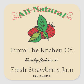 Customizable Strawberry Jam - Jelly Labels Square Sticker
