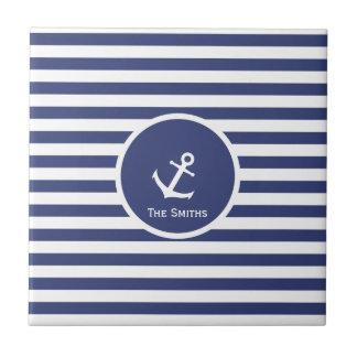 Customizable Striped Nautical Anchor Tile