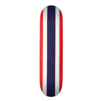 Customizable Striped Red, White, and Blue Skateboard