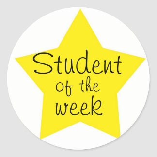 Customizable Student Of The Week Round Sticker
