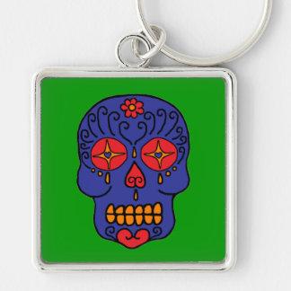 Customizable Sugar Skull Silver-Colored Square Key Ring