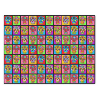 Customizable Sugar Skulls Squares Tissue Paper