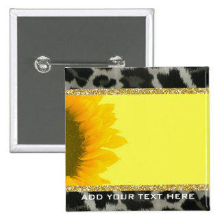 Customizable Sunflower Girly Glitter Animal Fur Button