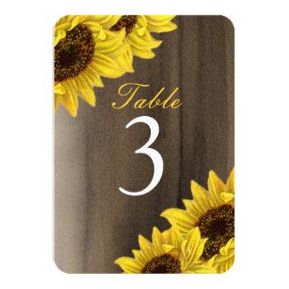 Customizable Sunflower Table Number Cards 9 Cm X 13 Cm Invitation Card
