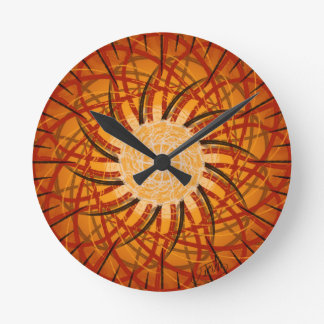 Customizable Sunset (Psychedelic spirograph) Round Clock