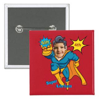 Customizable Superhero Birthday Personalize 15 Cm Square Badge