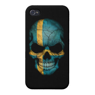 Customizable Swedish Flag Skull iPhone 4/4S Cover