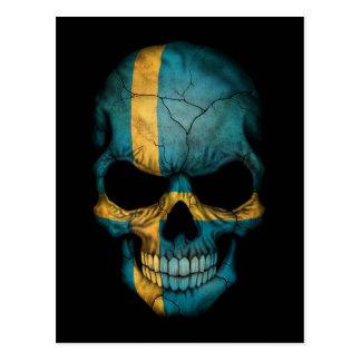 Customizable Swedish Flag Skull Postcard