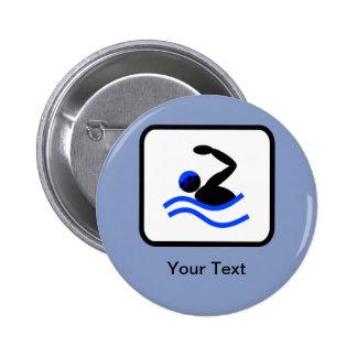Customizable Swimmer Logo 6 Cm Round Badge