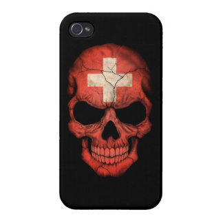 Customizable Swiss Flag Skull iPhone 4 Case