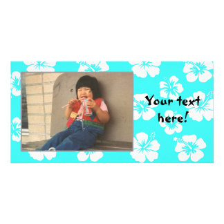 Customizable Teal Hibiscus Photocard Personalized Photo Card