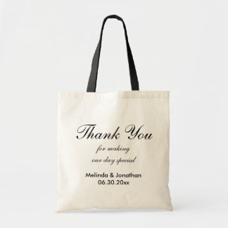 Customizable Thank Wedding Tote Bag - Black Text