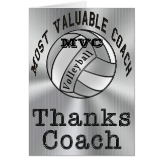 Customizable Thanks Coach Volleyball Coach Card