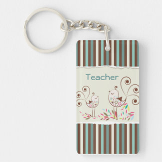 Customizable Thanks Teacher, Whimsical Bird Stripe Key Ring