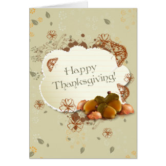Customizable Thanksgiving Card with Acorns