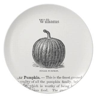 Customizable Thanksgiving Pumpkin Vintage Art Plate