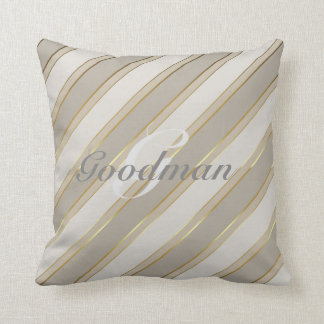 Customizable throw pillow neutral grays faux gold