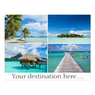 Customizable travel photo collage postcard
