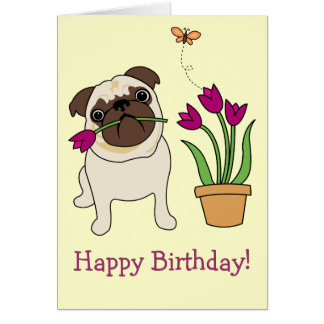 Customizable Tulip Pug and Butterfly Cards
