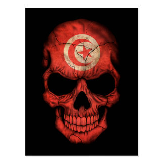 Customizable Tunisian Flag Skull Postcard
