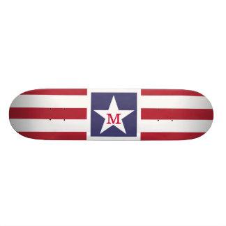 Customizable U.S.A. Flag Monogram Custom Skate Board