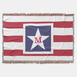 Customizable U.S.A. Flag Monogram Throw Blanket