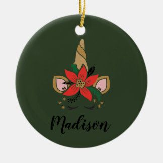 Customizable Unicorn Horn Poinsettia Christmas Ornament