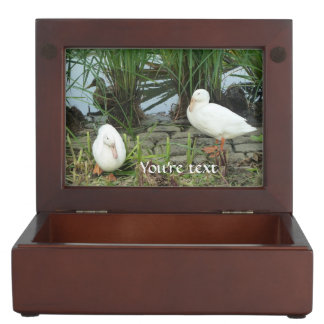 Customizable unique ducks at a lake memory boxes