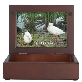 Customizable unique ducks at a lake memory box
