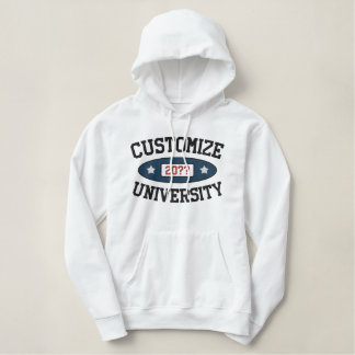 Customizable University with Year Embroidered Hooded Sweatshirt