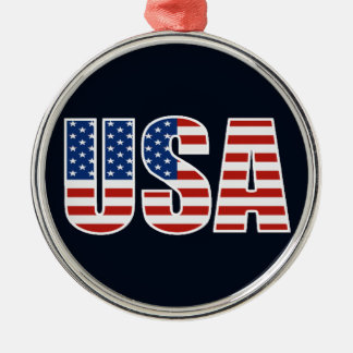 Customizable USA American Flag Silver-Colored Round Decoration