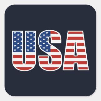 Customizable USA American Flag Square Sticker