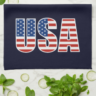 Customizable USA American Flag Tea Towel