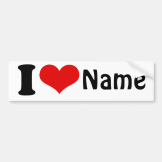 Customizable Valentines Day I love Heart Custom Bumper Sticker