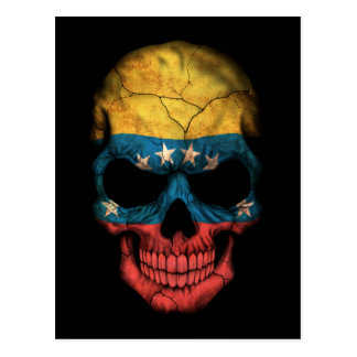 Customizable Venezuelan Flag Skull Postcard