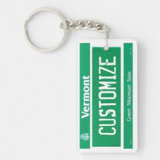 Customizable Vermont license plate keychain
